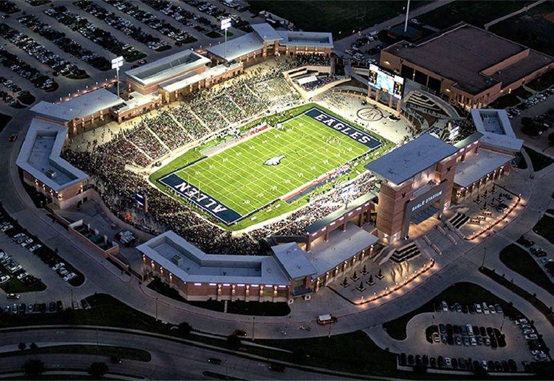 Aerial View of Football Stadium in Allen Texas